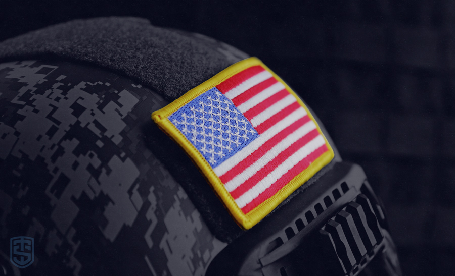 Military Helmet with American Flag